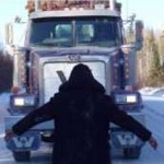 Grassy Narrows youth blocks tractor trailer truck