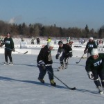 A game in the US 2009 pond hockey championships.
