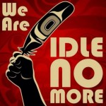 Red background, hand holds eagle feather - We are Idle No More