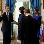US President Barack Obama is sworn in for a second term.